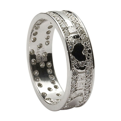 14k White Gold & Diamond Pave Set Ladies Claddagh Wedding Ring 6.1mm