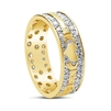 14k Yellow Gold & Pave Set Diamonds Men's Claddagh Wedding Ring 7.2mm