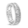 14k White Gold & Pave Set Diamonds Men's Claddagh Wedding Ring 7.2mm