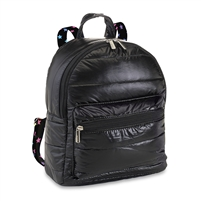 Black Puffer Mini Backpack with Scatter Star Strap