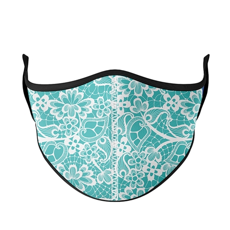 Teal Lace Fashion Face Mask