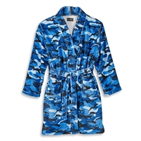 blue camoflauge Fuzzy bathRobe