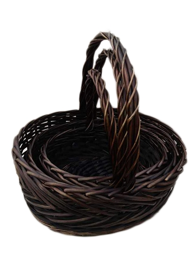 S 3 Willow Oval Decorative Baskets W