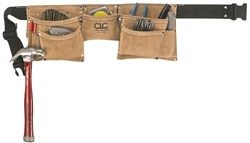 CLCI370X3 8 POCKET SUEDE WORK APRON WITH LEATHER TAPE HOLDER