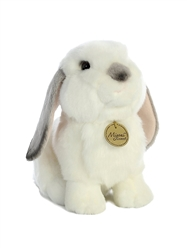 "Lop Eared White Bunny Rabbit with Grey Ears Miyoni Collection 8"" High"
