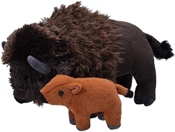 "Mom and Baby Bison (Buffalo) Plush Toy 12"" L"
