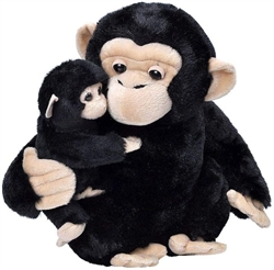 "Mom and Baby Chimp Plush Toy 12"" H"