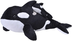 "Mom and Baby Orca Whale Plush Toy 15"" L"