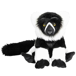 "Heirloom Floppy Black and White Lemur 9"" H"