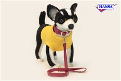 Hansa Black and White Chihuahus with Yellow Sweater and Leash