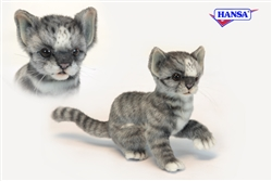 "Grey, White and Black Striped Kitten Cat - Poseable Cat 7"" High"