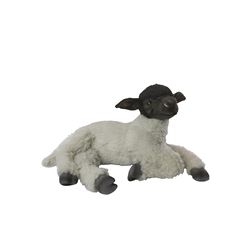 "Sheep Suffolk Lying black and White by Hansa 18"" L"