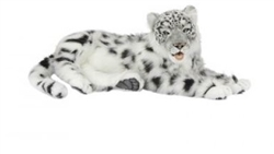"Snow Leopard Jacquard Laying  by Hansa 24"" Long"