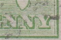 "Kangaroo flaw ACSC 1(1)e White flaw on left base of second ""N"" of ""PENNY"" SG 1 variety First watermark ½d green"