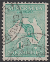 Kangaroo SG 11 First watermark 1/- die II Blue-green