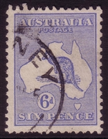Kangaroo SG 26a 2nd watermark 6d bright blue