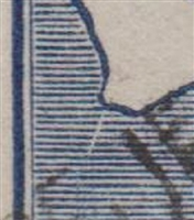 Kangaroo flaw ACSC 11(2)e White scratch extending from Cape Leeuwin SG 36 variety third watermark 2½d Two Pence Halfpenny indigo