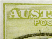 "Kangaroo flaw ACSC 13(2)g 2L59 Retouch on first ""A"" of ""AUSTRALIA"" 3d Three Pence 3rd Watermark listed variety"