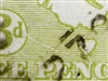 "Kangaroo flaw ACSC 13(2)m 2R54 White scratch from value circle to ""EN"" of ""PENCE"" 3d Three Pence 3rd Watermark listed variety"