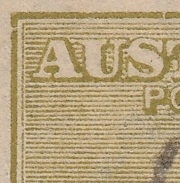 Kangaroo flaw ACSC 14(U)f Break in left frame just below top corner SG 37e variety Third watermark 3d die IIB