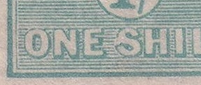 "Kangaroo flaw ACSC 33(4)j White flaw on left of ""S"" of ""SHILLING"" SG 40b variety MH Third watermark 1/- die IIB"