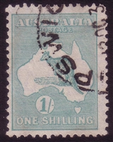 Kangaroo SG 109 SMC watermark 1/- blue green