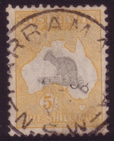 Kangaroo SG 135 CofA watermark 5/- grey and yellow