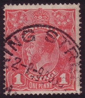 KGV SG 21 G15 BW ACSC 71F 1915 1d Reddish-pink on semi-surfaced paper