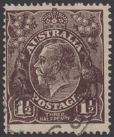 KGV SG 51 BW ACSC 84 1919 1½d Black-Brown King George V Australia