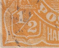 KGV SG 56 BW ACSC 66(7)m listed flaw 7R33 ½d orange
