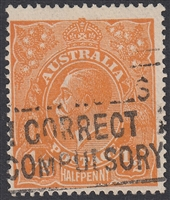 KGV SG 56w ACSC 66a INVERTED WATERMARK ½d orange
