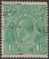 KGV SG 61 BW ACSC 88 1922 1½d Three Halfpence green