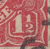 KGV SG 77 BW ACSC 89(22)v listed flaw 22R51 1½d red