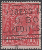 KGV SG 77 BW ACSC 89 1½d Three Halfpence red King George head Australia