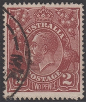 KGV SG 78 BW ACSC 97aa COARSE MESH PAPER 1924 2d red-brown