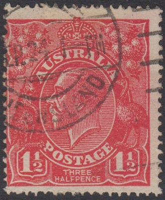 KGV SG 84 BW ACSC 90 1924 NO WATERMARK 1½d Three Halfpence red