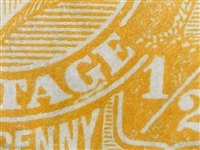 KGV SG 94 listed flaw BW ACSC 68(9)j 9R5 1928 ½d King George V halfpenny orange