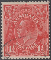 KGV SG 96 BW ACSC 92 1½d Three Halfpence red King George head Australia