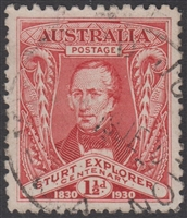 SG 117 Centenary of Exploration of Murray River by Captain Sturt 1930 1½d Scarlet-red