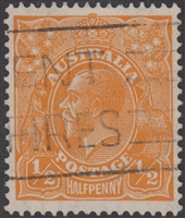 KGV SG 124 BW ACSC 69 ½d Halfpenny orange CofA King George head Australia