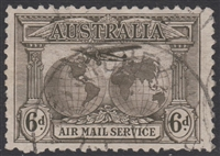 SG 139 Kingsford Smith AIR MAIL SERVICE Southern Cross Flight 1931 6d sepia