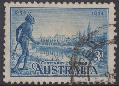 SG 148 Centenary of Victoria 1934 3d blue Perf 10½