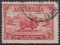 SG 150 1934 Death Centenary of Macarthur Type A 'White Hills' 2d carmine-red