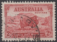 SG 150a Death Centenary of Macarthur Type B 'Dark Hills' 1934 2d carmine-red