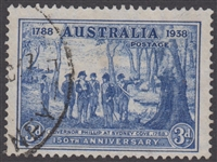 SG 194 1937 Sesquicentenary 150th Anniversary of Founding Of New South Wales 3d Bright blue