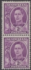 SG 205 Mint with gum 1944 King George VI vertical PAIR 2d Bright Purple Australia