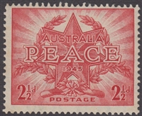 SG 213 1946 Peace Victory Commemoration 2½d Red MINT HINGED Original Gum