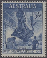 SG 220 1947 150th Anniversary of Newcastle 3½d Blue MINT Original Gum
