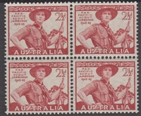 SG 226 Mint with gum Block of 4 1948 Pan-Pacific Scout Jamboree 1948-49 2½d lake Australia