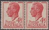SG 248 1951-52 King George VI 4½d Scarlet MINT Original Gum joined pair